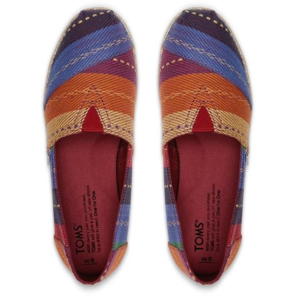 Toms Shoes Nwt Rainbow Multi Stripe Woven Espadrilles Poshmark